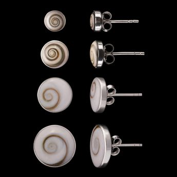 Round Silver Earrings with Shiva Eye available in 6 / 8 / 10 or 12mm – picture 1