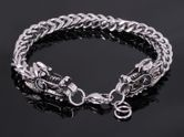 Stainless Steel Dragon Heads Bracelet