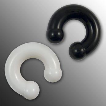 Circular Barbell Silikon Piercing 4-12 mm schwarz oder weiss