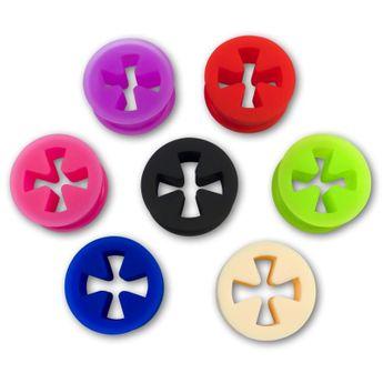 Softe Silikon Flesh Tunnel Eisernes Kreuz Farb-& Größenauswahl