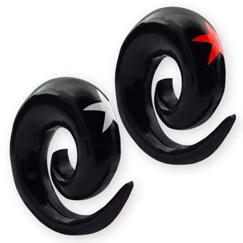 Horn Dehnungsspirale mit 4 Stern Inlays in rot oder weiss