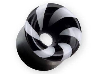 Horn Flesh Tunnel Lollipop mit weißer oder roter Spirale 6-22 mm  – Bild 3