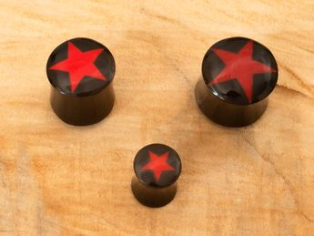 Buffalo horn  ear plugs with star bone inlay 6-22 mm – picture 4