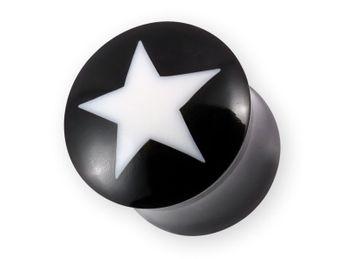 Büffelhorn Plugs mit Stern Inlay aus Knochen (Farbwahl) 6-22 mm – Bild 4
