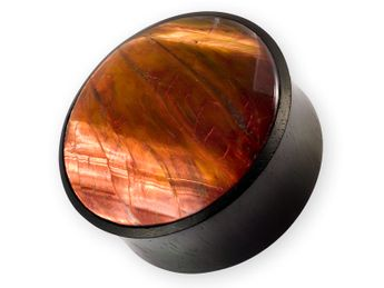 Wood Plug with Inlay from red Tiger's Eye – picture 1