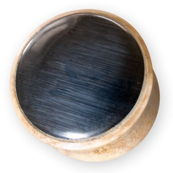 Wood or Horn Plug with black or white Cat's Eye-Inlay – picture 2