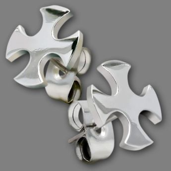 "Ear Studs from Stainless Steel ""Iron Cross"""