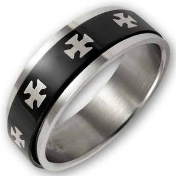 Stainless Steel Spinning Ring - Cross Gules