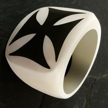"Bone Ring with Horn Inlay ""Iron Cross"""