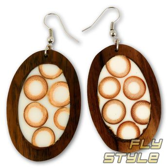 Wood Dangle Earrings with Bamboo Hoops