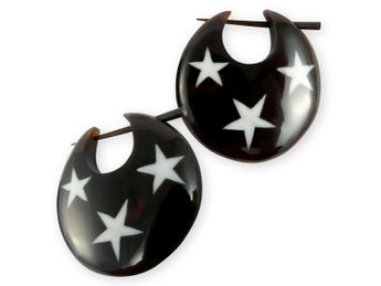 Horn Earrings with Bone Inlays - Stars