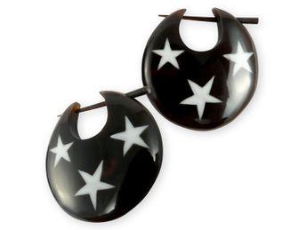 Pendientes de Cuerno con Incrustaciones de Hueso - Estrellas