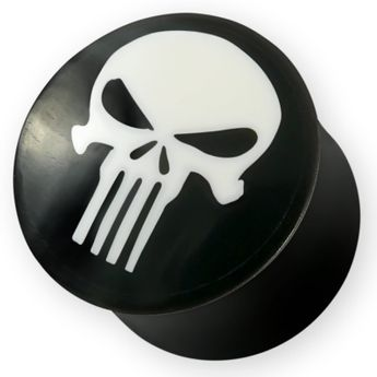 The Punisher Horn Plug mit Totenkopf Knochen Inlay