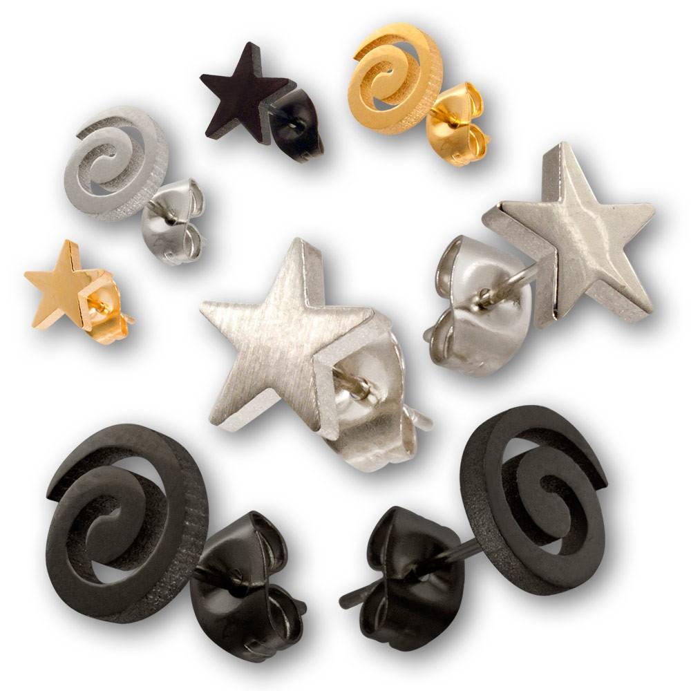 Stainless steel earrings spiral or star ear jewelry