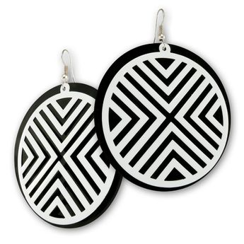 Big Dangle Earrings from Metal - White Stripes