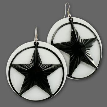 Big Dangle Earrings from Metal - Black Nautical Star