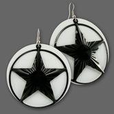 Weisse Ohrhänger mit Schwarzem Nautischen Stern 001