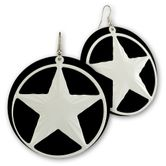 Big Dangle Earrings from Metal - White Nautical Star 001