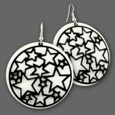 Dangling Hoop Earrings from Metal - Black Stars Tattoo 001