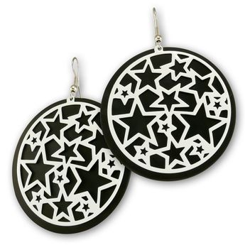 Dangling Hoop Earrings - White Stars Tattoo