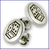 "Ear Studs from Stainless Steel ""Lucky Dice"" 001"