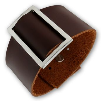 Plain brown Leather Bracelet with Squared Buckle