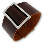 Plain brown Leather Bracelet with Squared Buckle 001
