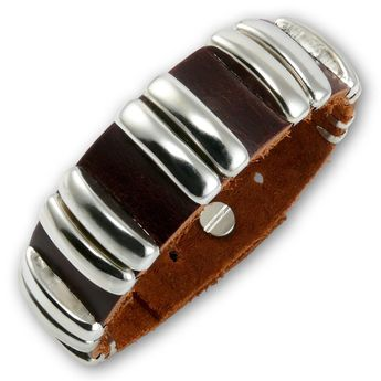 Brown Leather Bracelet with Double Studs