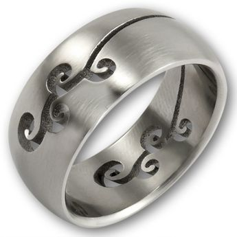 Laser Cut Stainless Steel Ring - Floral Tribal