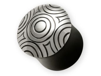 Black Horn Plug with 925 Silver Ornament (8-14 mm)