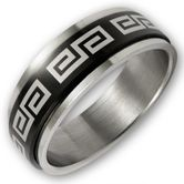 Stainless Steel Move Ring - Black Meander 001