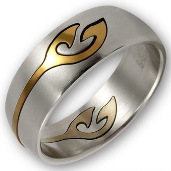 "Stainless Steel Ring with removeable gold plated Ornament ""Gold Tattoo"""