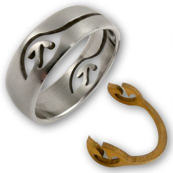 "Stainless Steel Ring with removeable gold plated Ornament ""Gold Tattoo"" – picture 2"