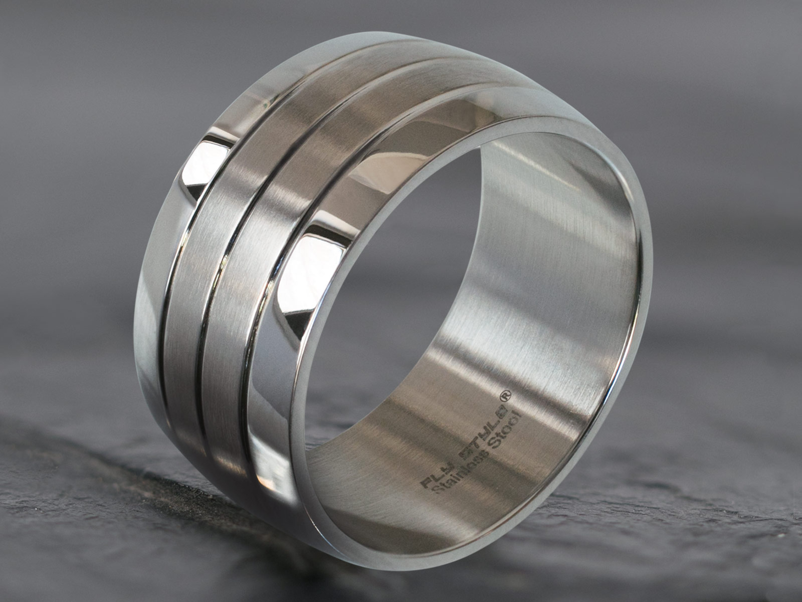 3b721ae316ae2 Stainless steel wide band ring 316L with 4 bands