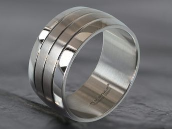 Stainless steel wide band ring 316L with 4 bands