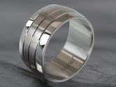 Stainless steel wide band ring 316L with 4 bands 001
