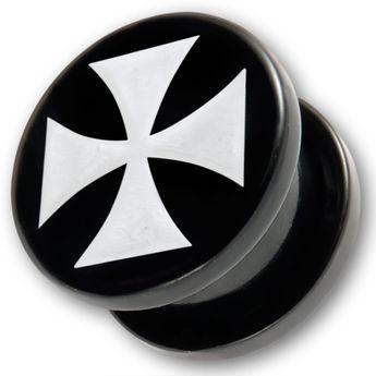 Acrylic Ear Plug - White Iron Cross