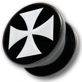 Acrylic Ear Plug - White Iron Cross 001