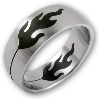Stainless Steel Ring - Black Flames