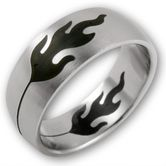 Stainless Steel Ring - Black Flames 001