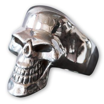 Silver Skull Ring - Scary Death`s Head