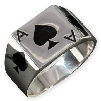 Ace of Spades Silver Ring – picture 1
