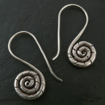 Hill Tribe Spiral Silver Earrings