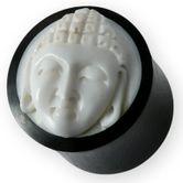 Büffelhorn Plug mit Buddha Knochen Inlay 14-22 mm Schwarz-weiß