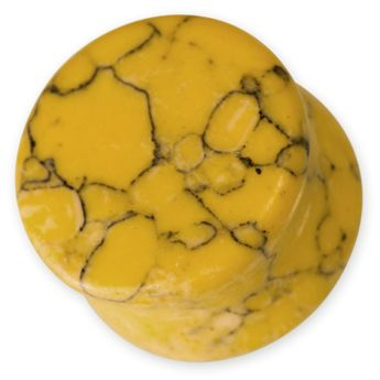 Stone Ear Plug - Yellow Howlite – picture 1
