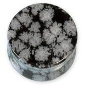 Ear Plug - Snowflake Obsidian