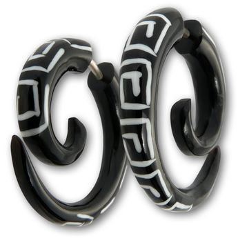 Horn Fake Earring - Maori Spiral Tribal