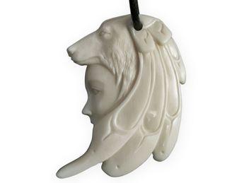 Bone Pendant - Wolf Shaman