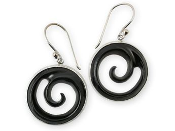 Silver Earrings with Carved Horn Spiral
