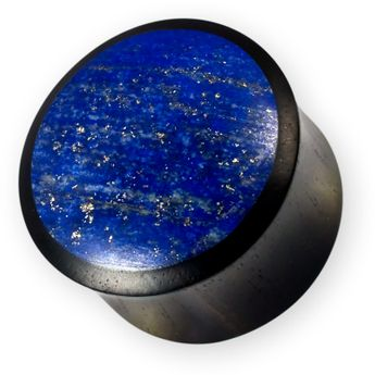 Arangholz Plug mit Lapislazuli Schwarz-Blau